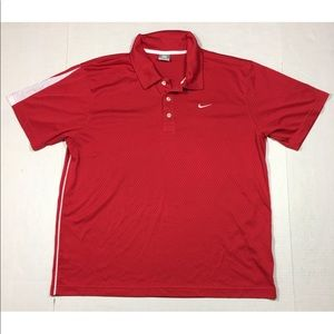 Nike Red Short Sleeve Athletic Polo Shirt Men's XL